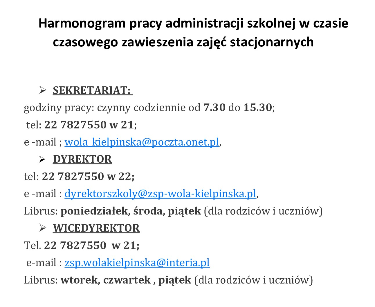 Harmonogram pracy administracji szkolnej